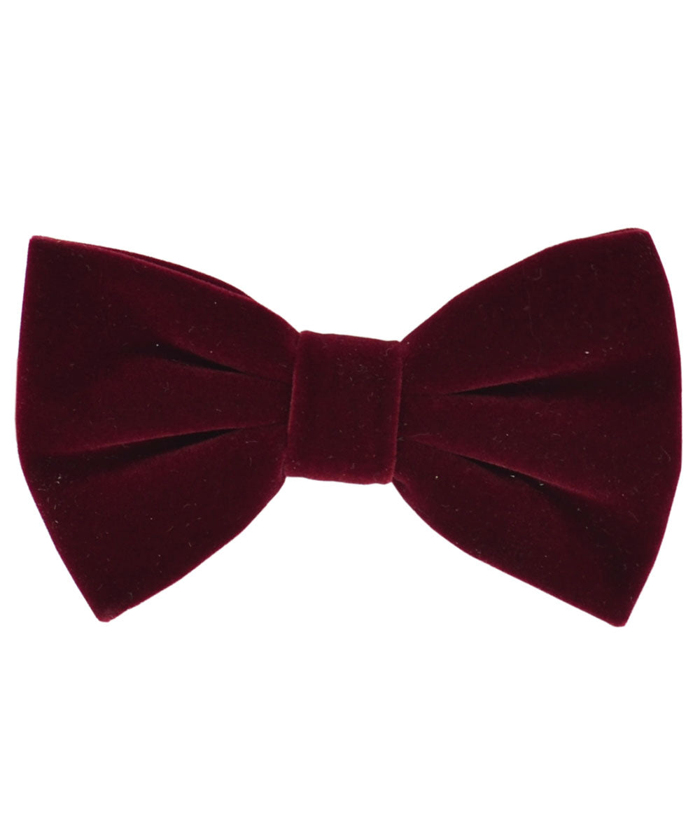 Stunning Burgundy Velvet Men's Bow Tie and Pocket Square - tiepassion
