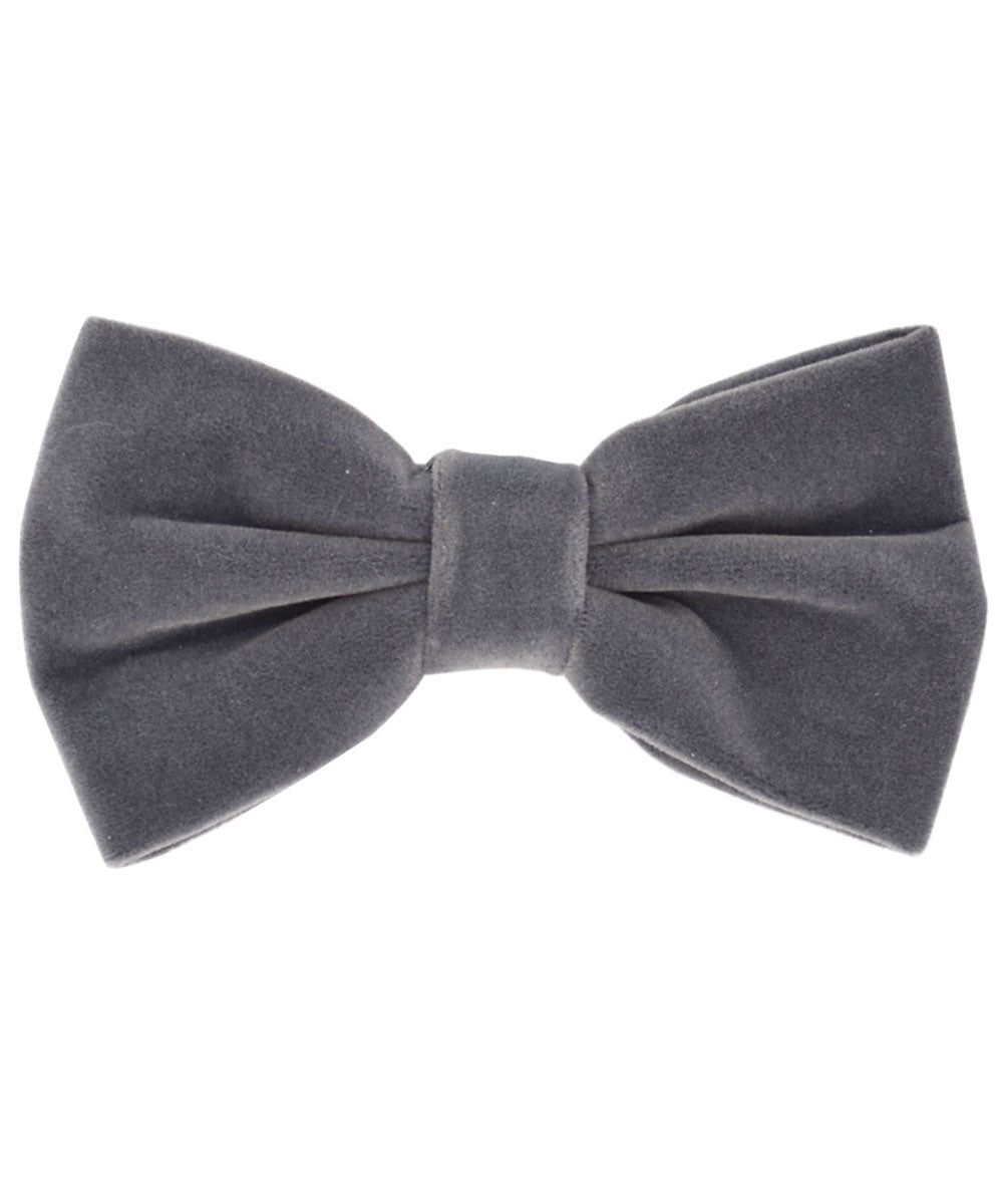 Stunning Grey Velvet Men's Bow Tie and Pocket Square - tiepassion