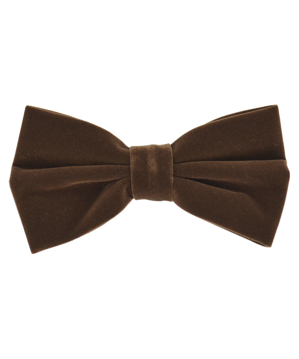 Stunning Brown Velvet Men's Bow Tie and Pocket Square - tiepassion