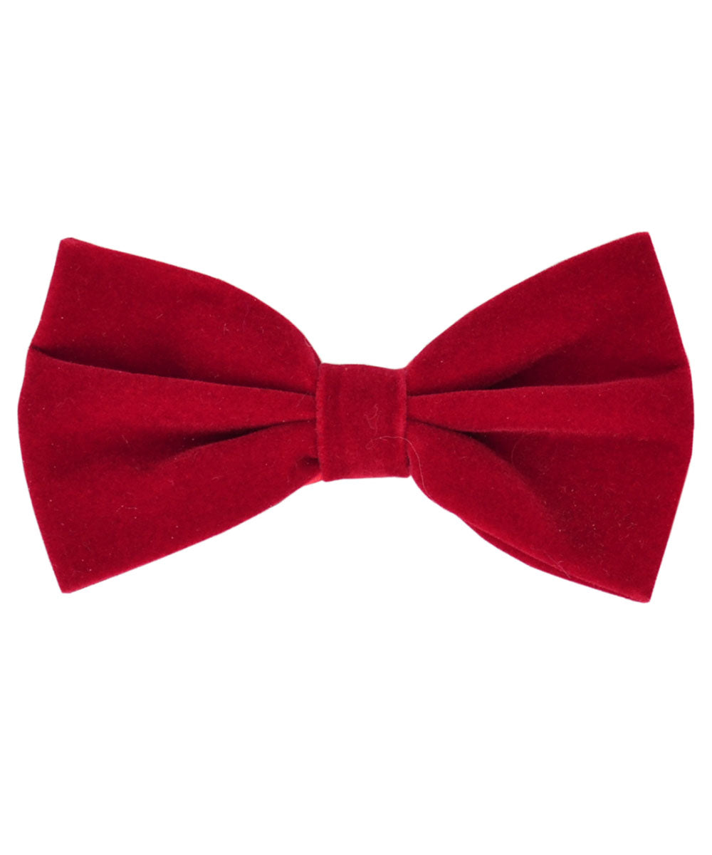 Stunning Red Velvet Men's Bow Tie and Pocket Square - tiepassion