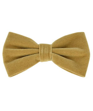 Stunning Golden Brown Velvet Men's Bow Tie and Pocket Square - tiepassion