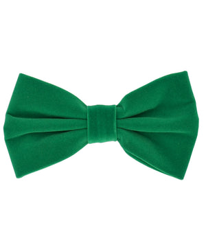 Stunning Ultramarine Green Velvet Men's Bow Tie and Pocket Square - tiepassion