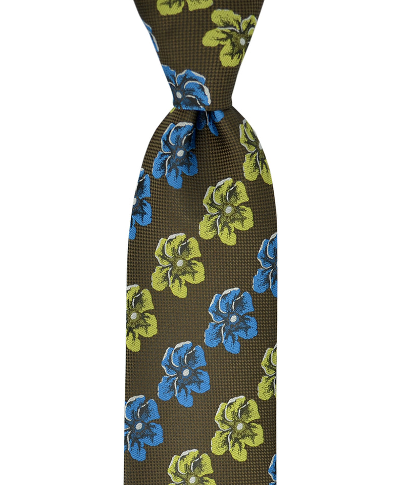Cypress Green and Blue Hibiscus Pattern Necktie and Pocket Square - tiepassion