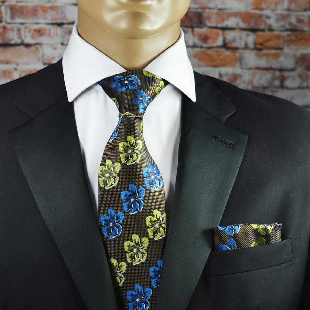 Cypress Green and Blue Hibiscus Pattern Necktie and Pocket Square