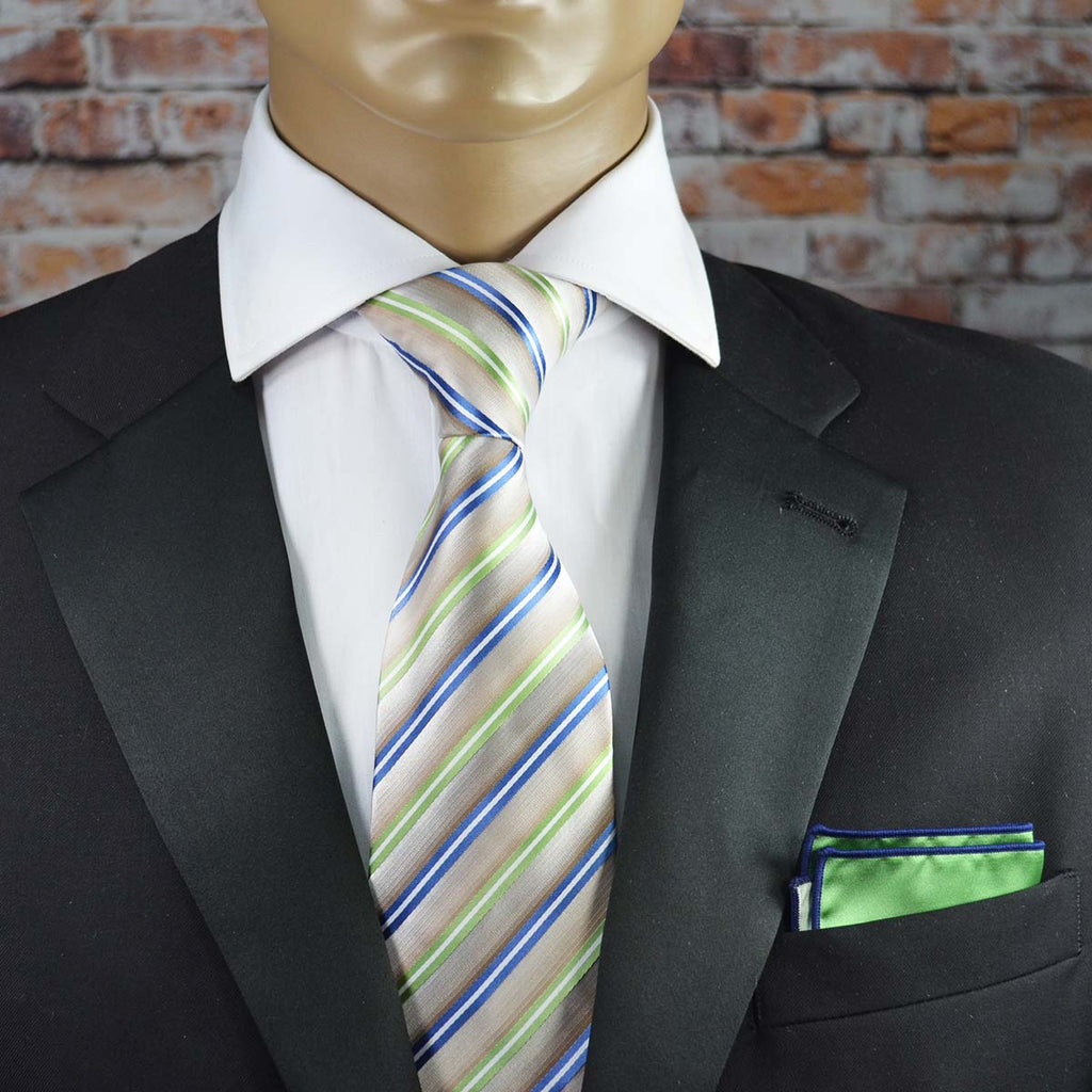 Lime Green, Blue and Tan Striped Necktie