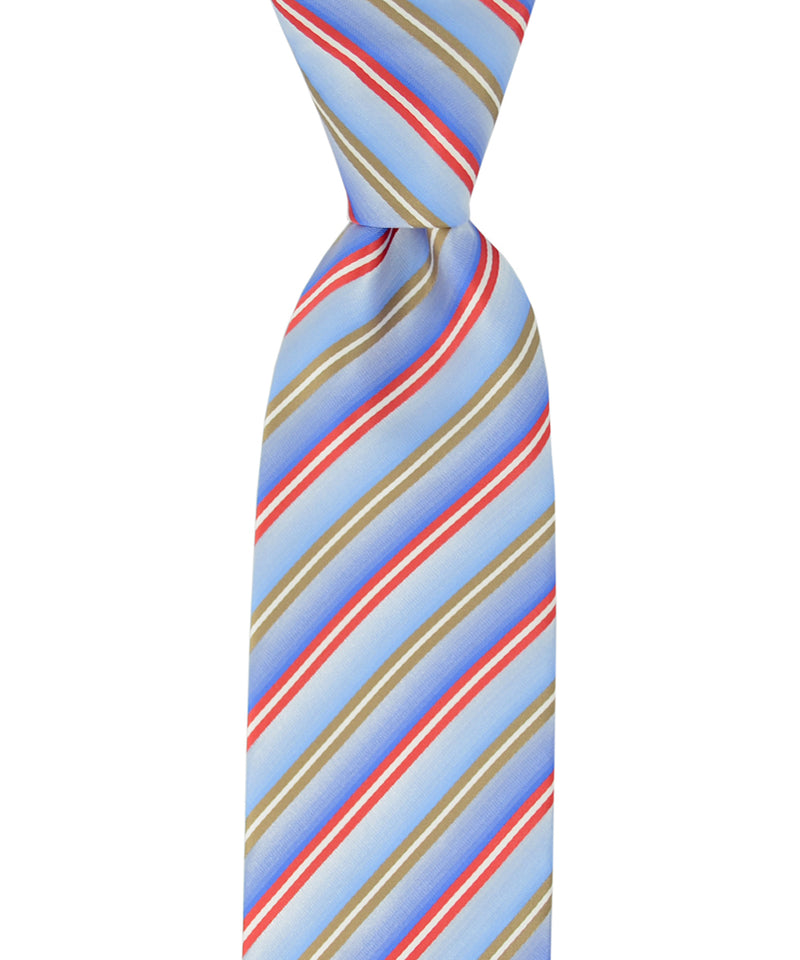 Light Blue, Red and Beige Striped Necktie - tiepassion