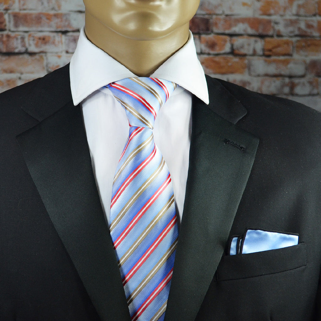 Light Blue, Red and Beige Striped Necktie