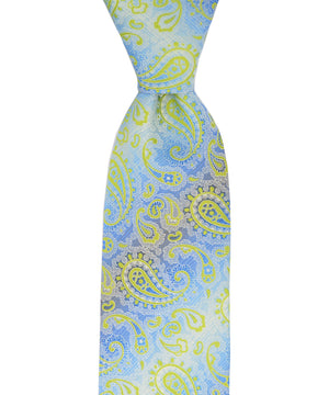 Lime Green and Light Blue Paisley Necktie - tiepassion