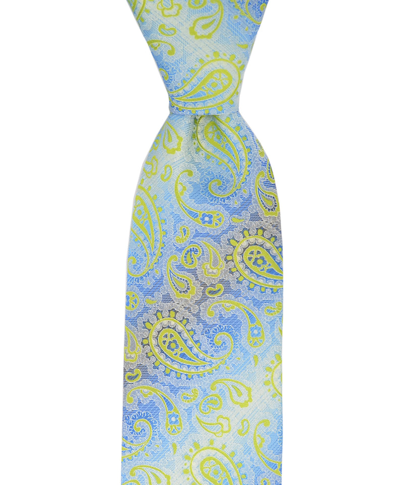 Swedish Blue and Lime Paisley Necktie