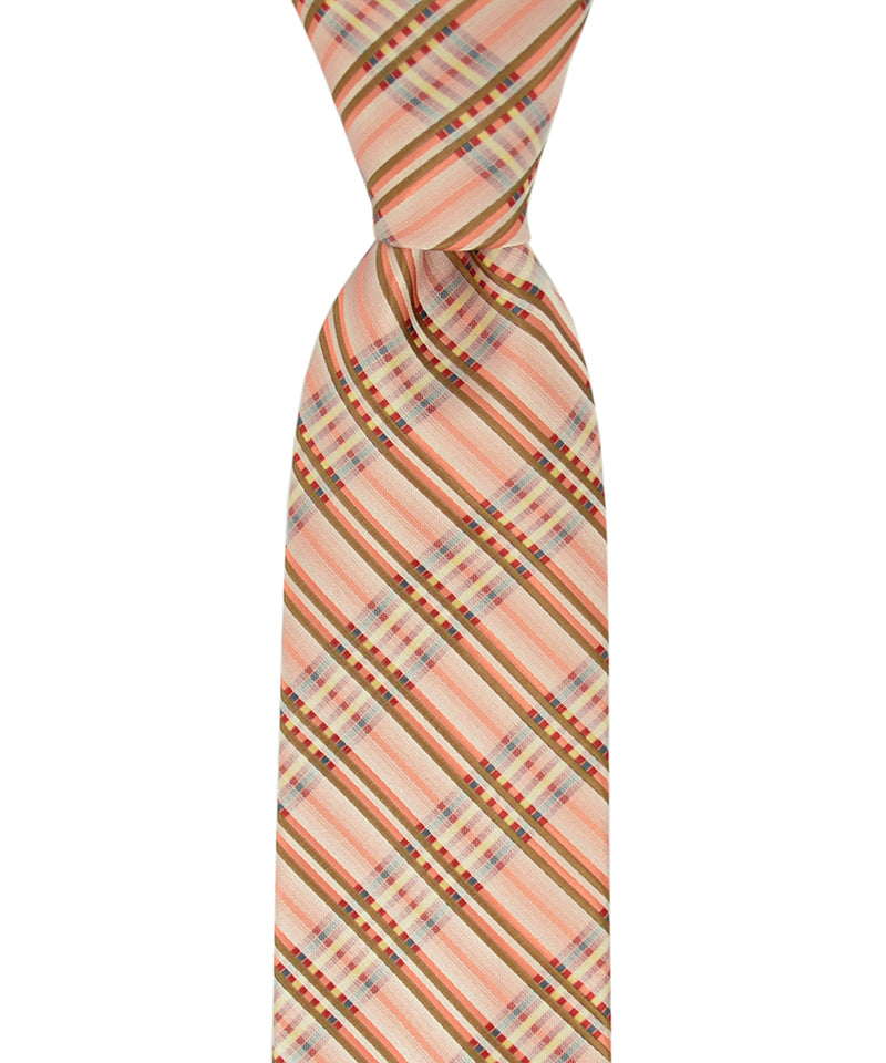 Orange, Red and Teal Plaid Necktie - tiepassion