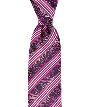 Pink and Black Striped Paisley Necktie and Pocket Square - tiepassion