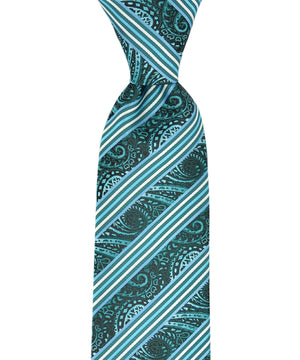 Teal and Black Striped Paisley Necktie and Pocket Square - tiepassion