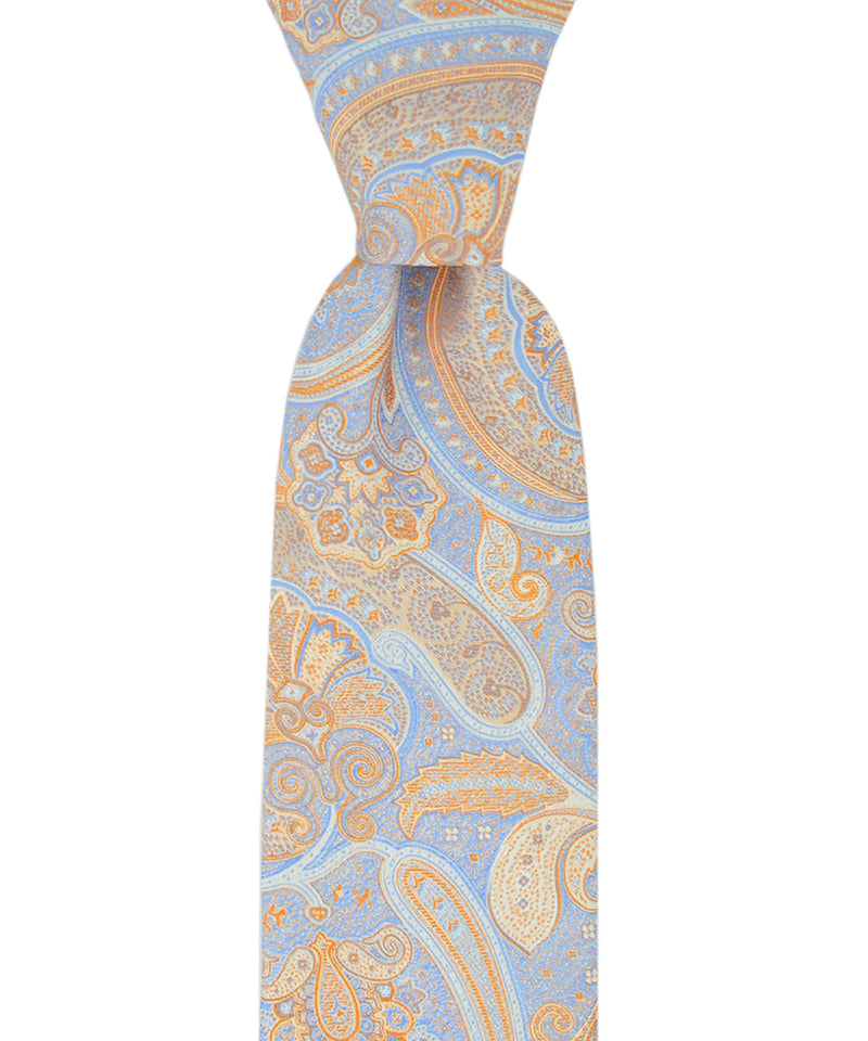 Light Blue and Orange Paisley Necktie - tiepassion