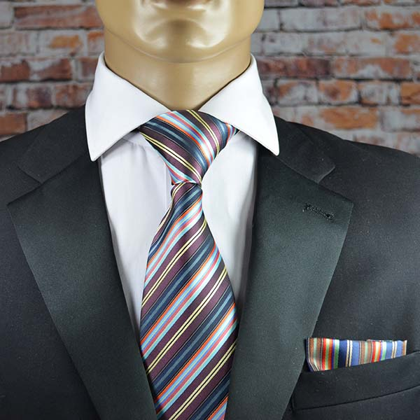 Colorful Striped Men's Tie and Pocket Square