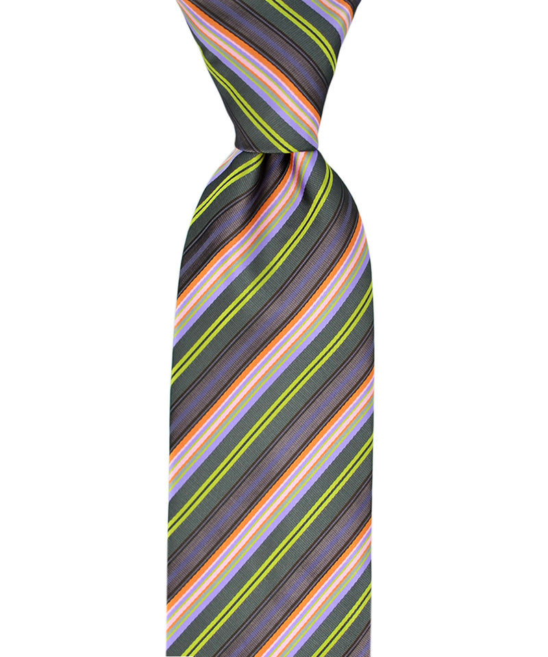 Purple, Teal and Green Striped Necktie and Pocket Square - tiepassion