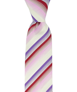 Purple, Red and White Striped Necktie - tiepassion