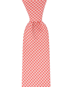 Sugar Coral and White Checkered Necktie - tiepassion