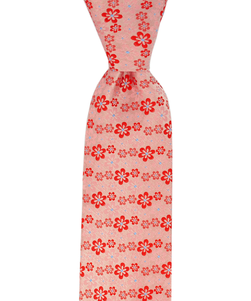 Red and Pink Floral Pattern Necktie - tiepassion