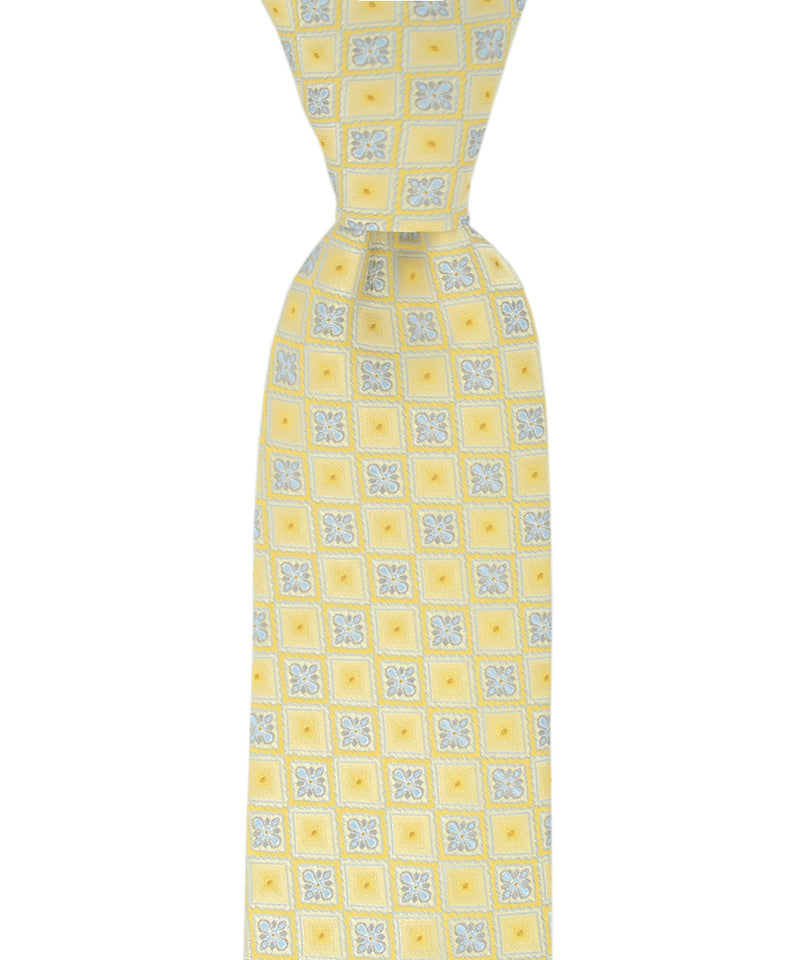 Yellow and Blue Checkered Pattern Necktie - tiepassion