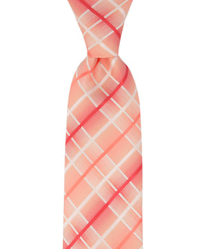 Red, Coral and White Plaid Necktie - tiepassion