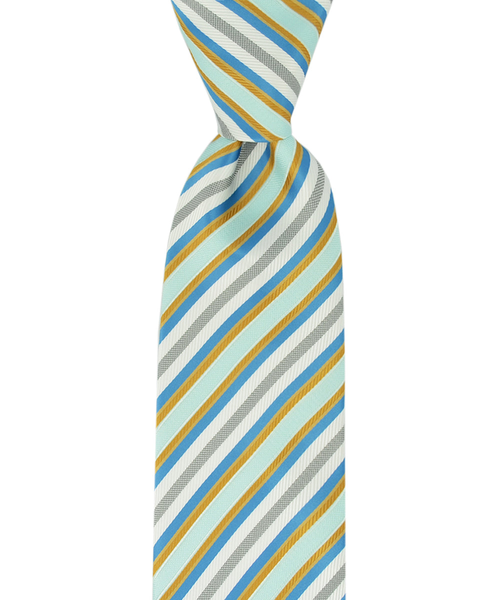 Teal, Aqua and Gold Striped Necktie - tiepassion
