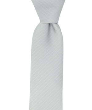 Silver Striped Slim Necktie and Pocket Square - tiepassion