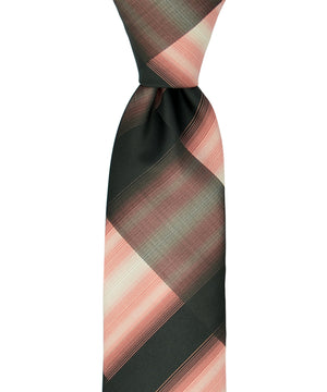 Slim Black and Coral Necktie and Pocket Square - tiepassion
