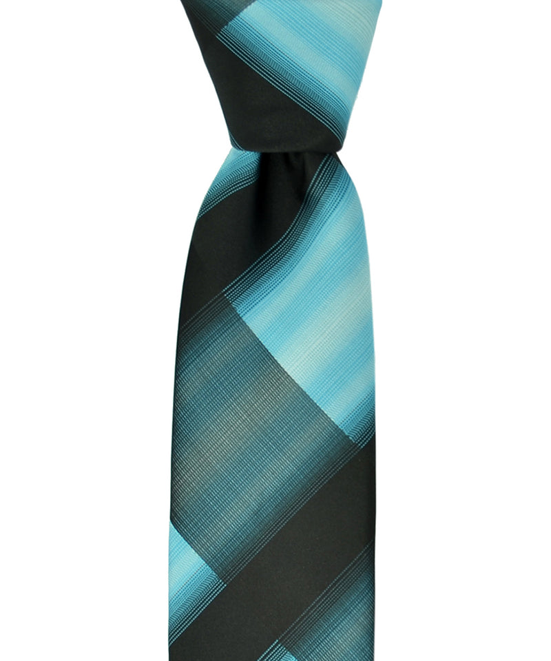 Slim Black and Turquoise Necktie and Pocket Square - tiepassion