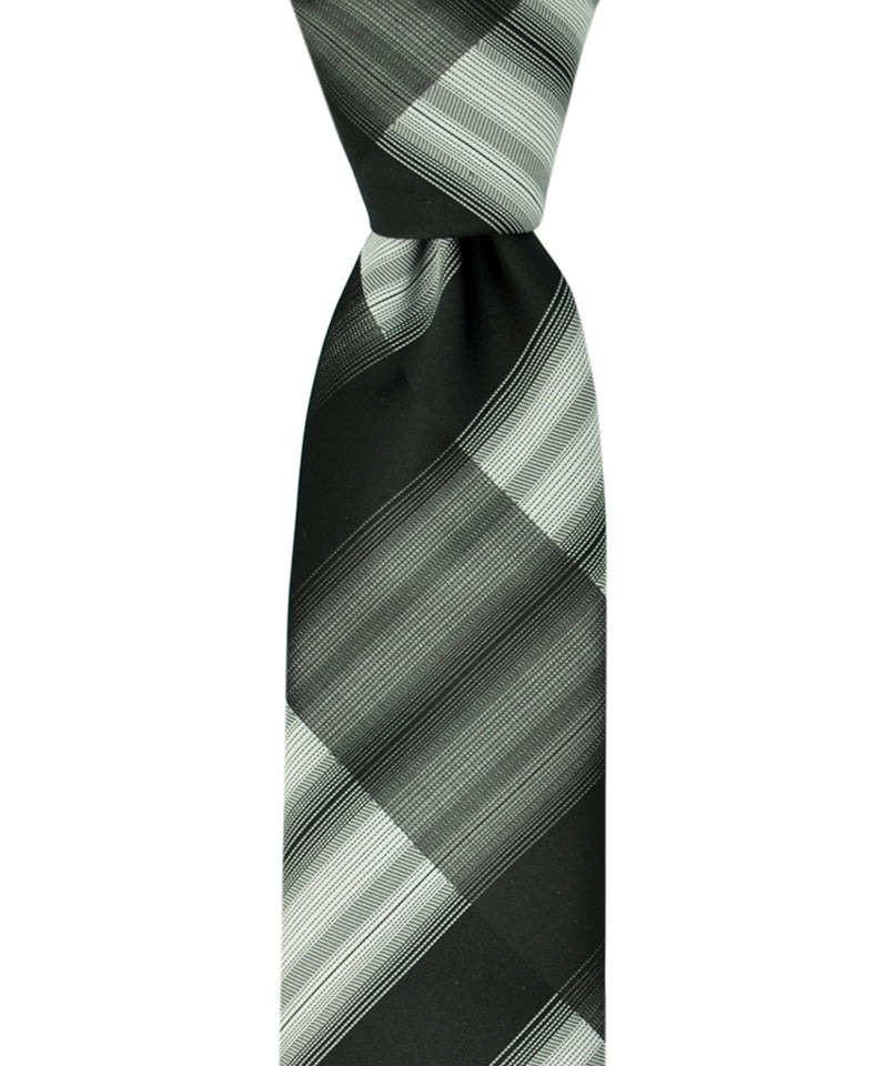 Slim Black and Grey Necktie and Pocket Square - tiepassion