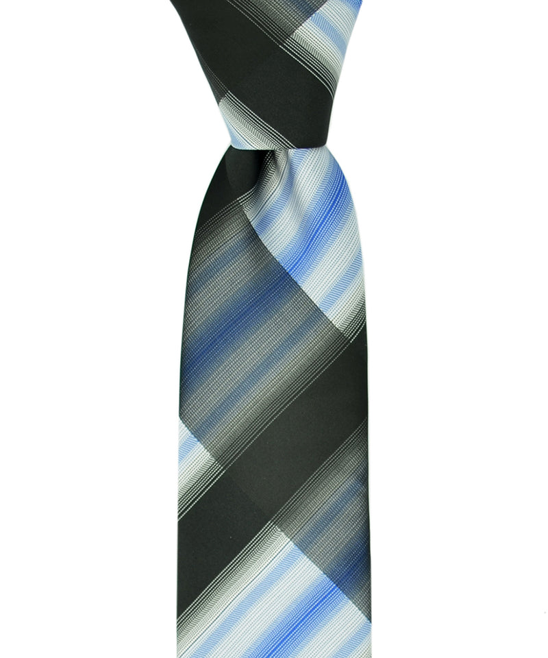 Slim Black, Blue and White Necktie and Pocket Square - tiepassion