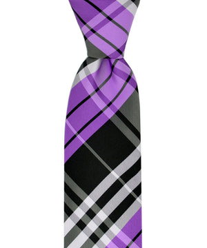 Slim Amethyst Orchid and Black Plaid Necktie and Pocket Square - tiepassion