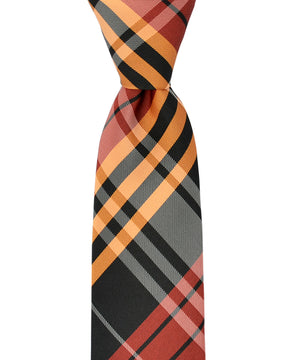 Slim Red, Orange and Black Plaid Necktie and Pocket Square - tiepassion
