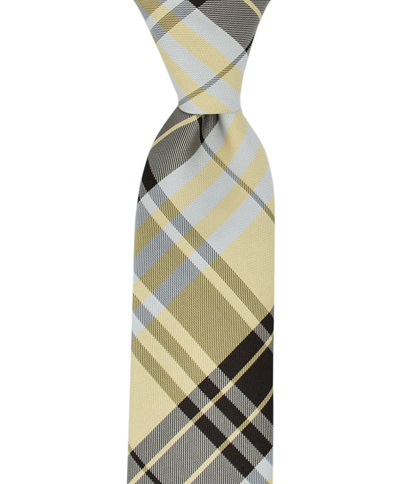 Slim Beige, Silver and Black Plaid Necktie and Pocket Square - tiepassion