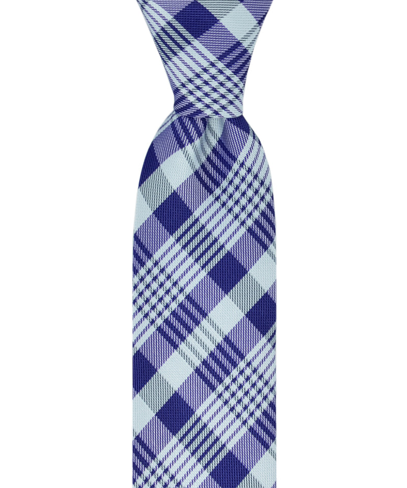 Slim Light Blue and Deep Ultramarine Plaid Necktie and Pocket Square - tiepassion