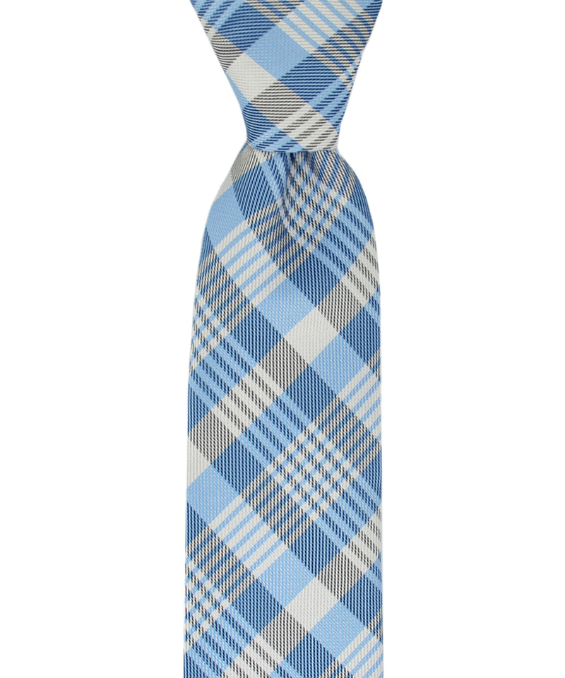 Slim Light Blue and Silver Plaid Necktie and Pocket Square - tiepassion