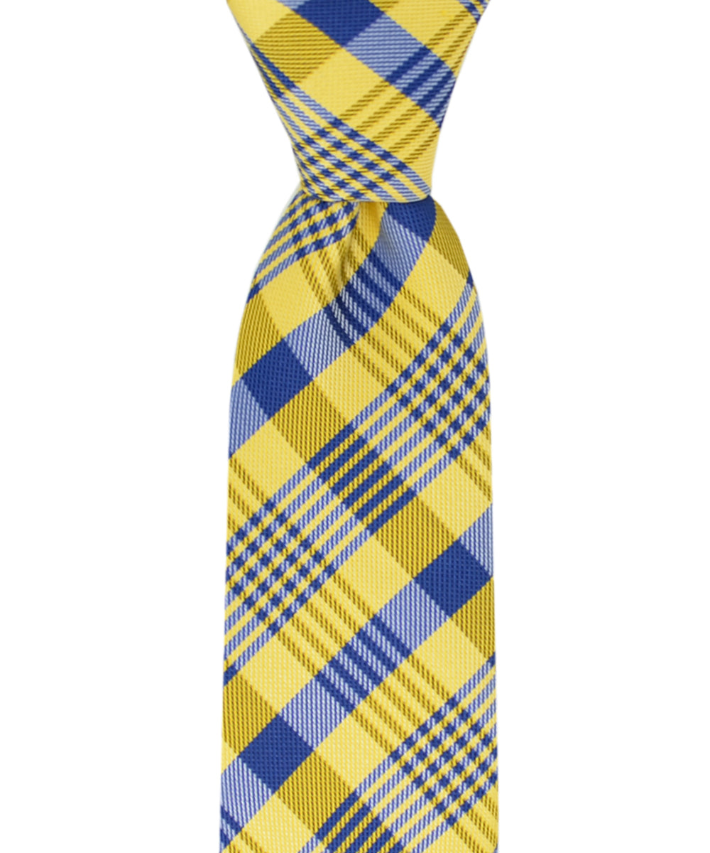 Slim Yellow and Blue Plaid Necktie and Pocket Square - tiepassion