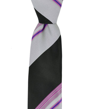 Slim Grey, Black and Pink Striped Necktie and Pocket Square - tiepassion