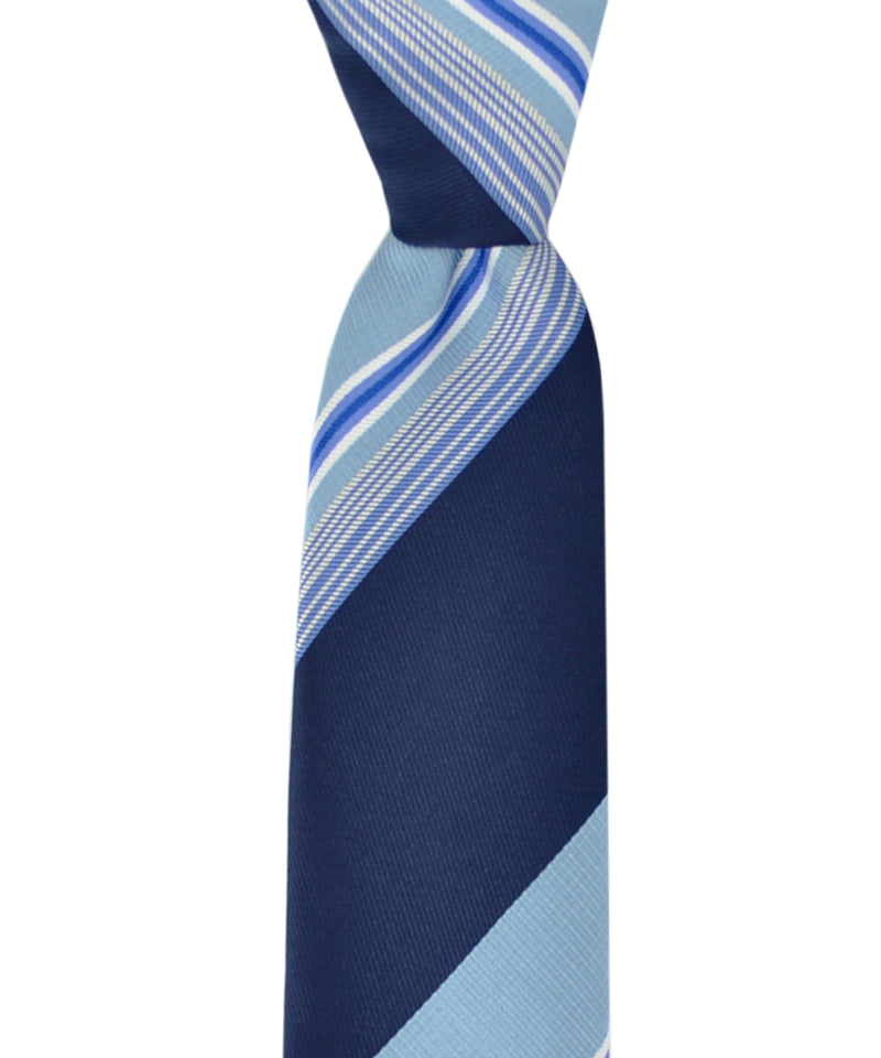 Slim Navy and Light Blue Striped Necktie and Pocket Square - tiepassion