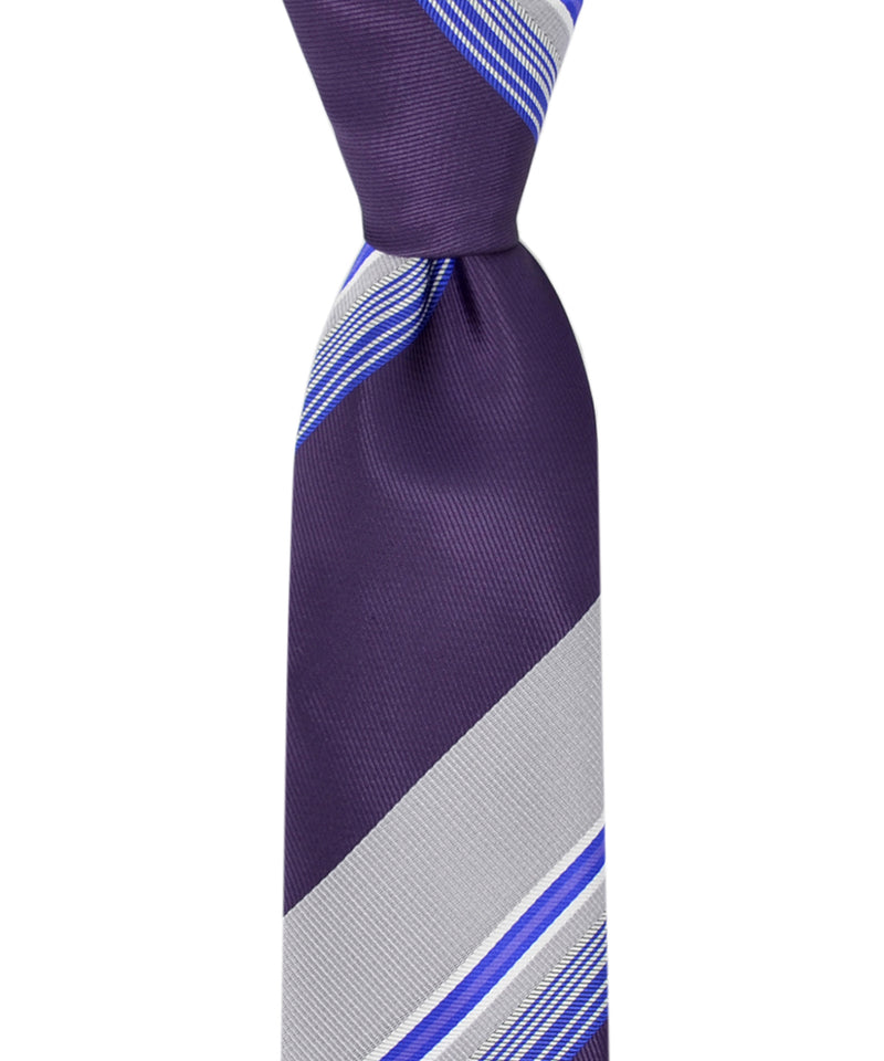Slim Grey, Deep Purple and Blue Striped Necktie and Pocket Square - tiepassion