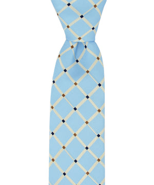 Slim Light Blue Checkered Necktie and Pocket Square - tiepassion