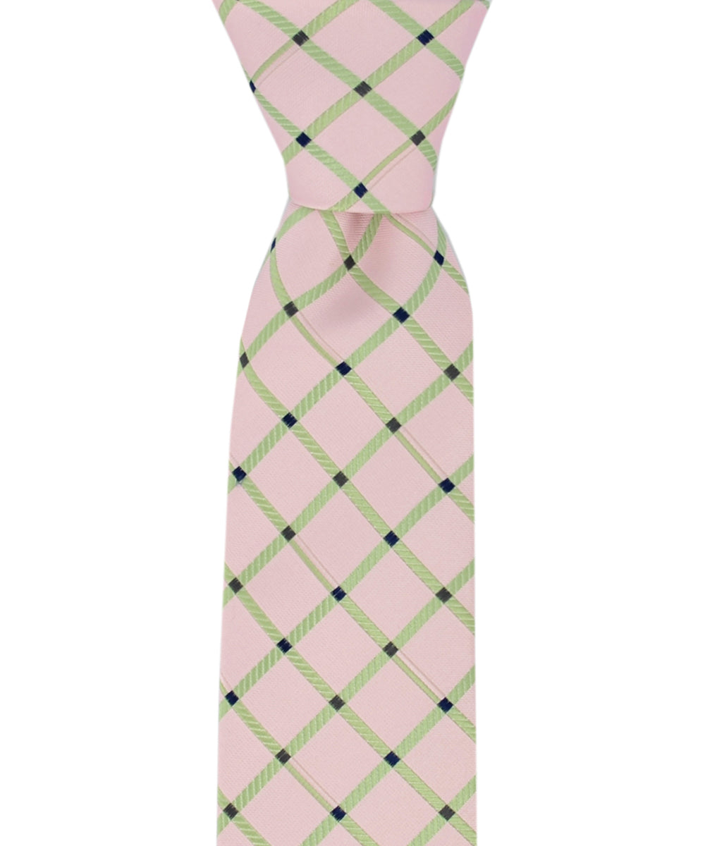 Slim Pink and Green Checkered Necktie and Pocket Square - tiepassion