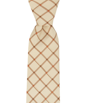 Slim Beige and Brown Checkered Necktie and Pocket Square - tiepassion