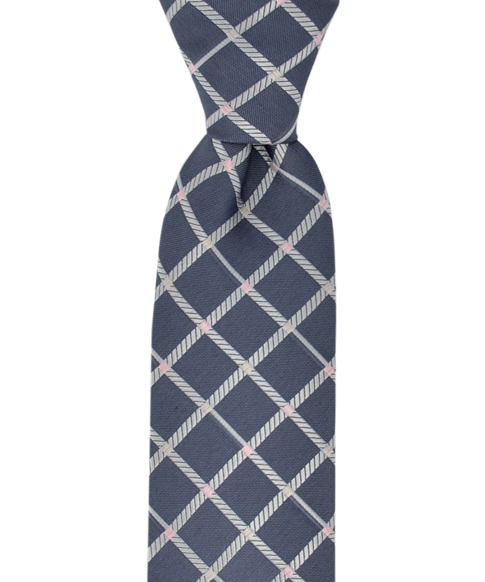 Slim Charcoal Grey and Silver Checkered Necktie and Pocket Square - tiepassion