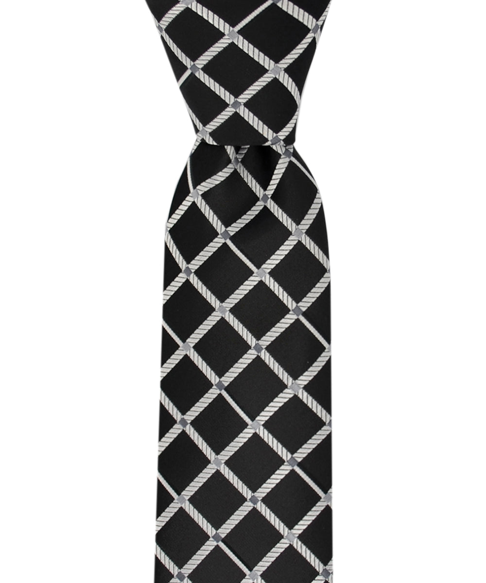 Slim Black and Silver Checkered Necktie and Pocket Square - tiepassion