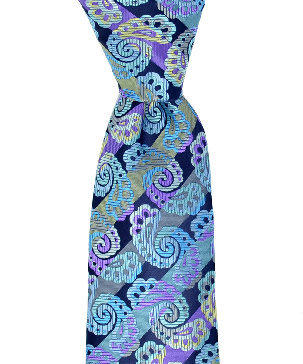 Vibrant Blue and Purple Paisley Necktie and Pocket Square - tiepassion