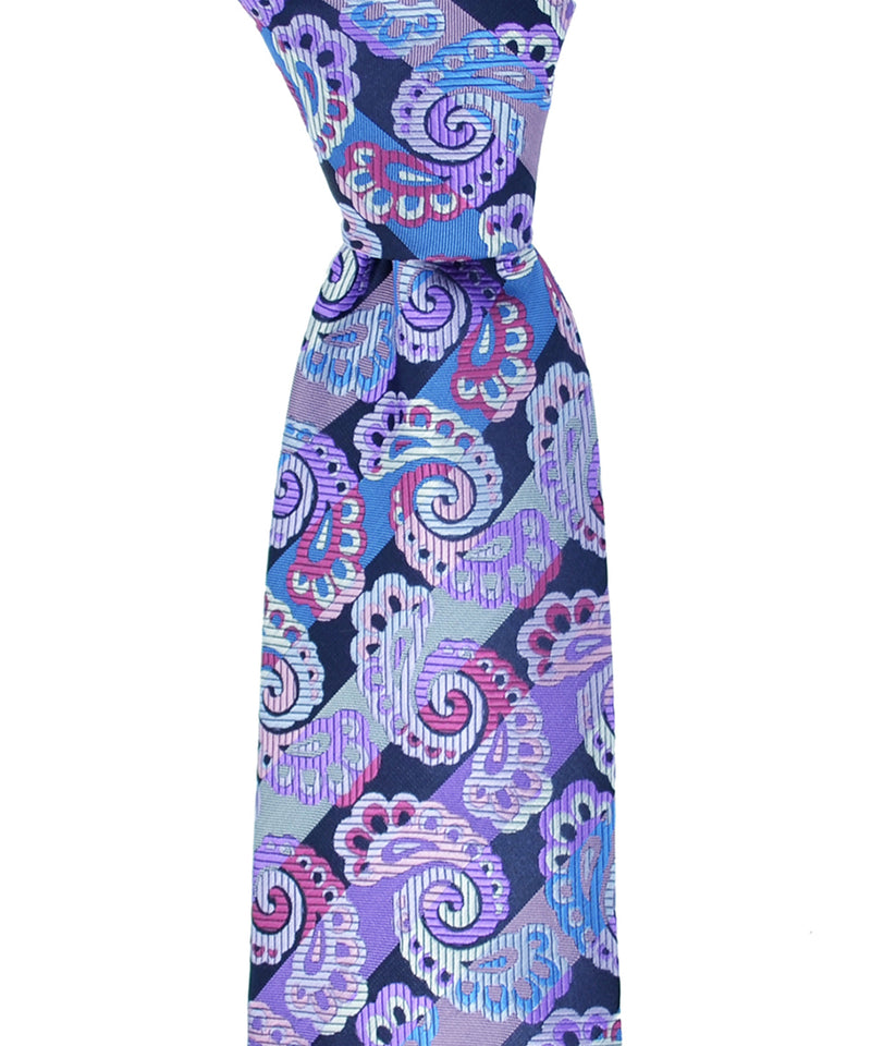 Purple and Pink Paisley Necktie and Pocket Square - tiepassion