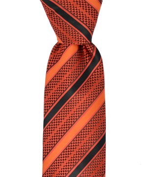 Red and Black Striped Necktie and Pocket Square - tiepassion