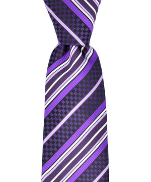Purple and White Striped Necktie and Pocket Square - tiepassion