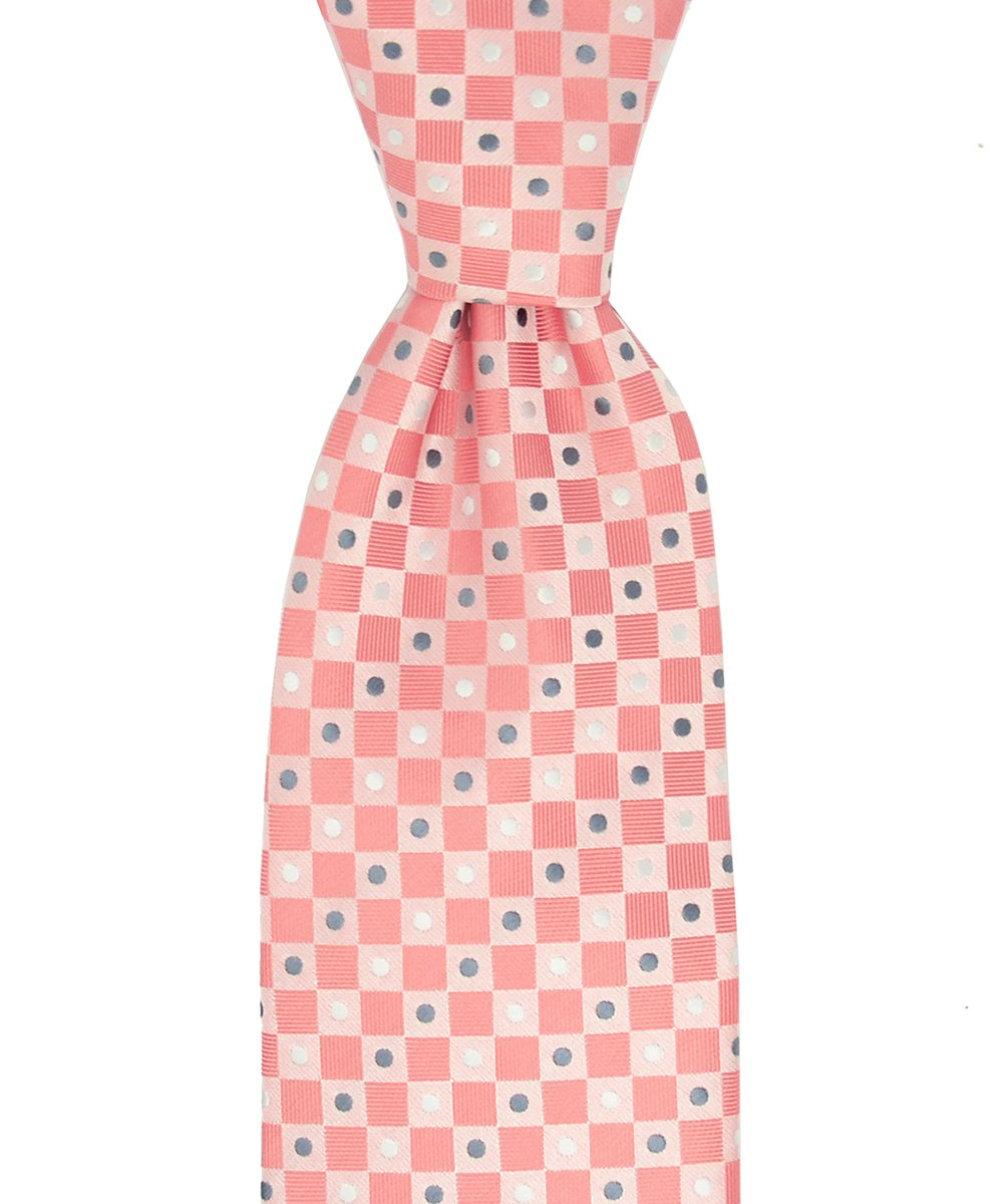 Salmon Checkered and Grey Polka Dotted Necktie and Pocket Square