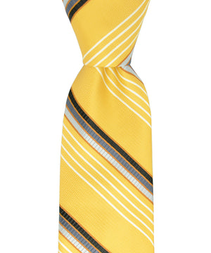 Yellow, Black and Silver Striped Necktie and Pocket Square - tiepassion